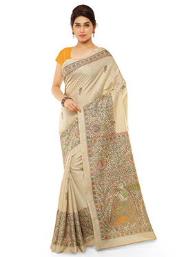 Beige N Yellow Pashmina Printed Saree