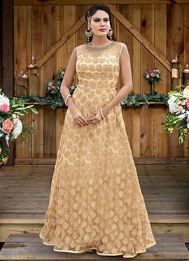 Beige Net Anarkali Gown