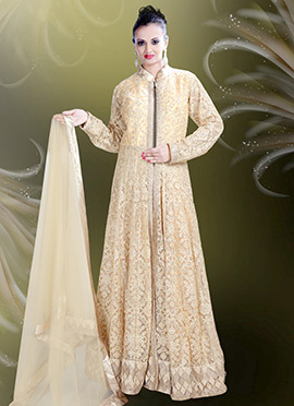 Beige Net Anarkali Gown