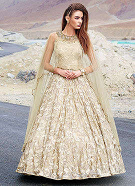 Beige Net Cape Style Ball Gown