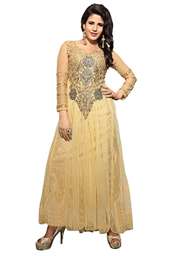 Beige Net Embroidered Anarkali Gown