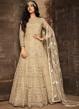 Beige Net Embroidered Anarkali Suit