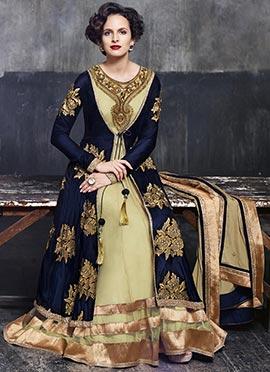 Beige Net Jacket Style Anarkali Suit