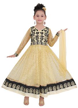 Beige Net Kids Anarkali Suit