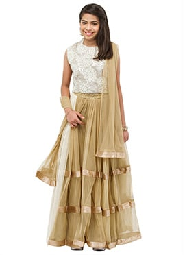 Beige Net Teenage Lehenga Choli