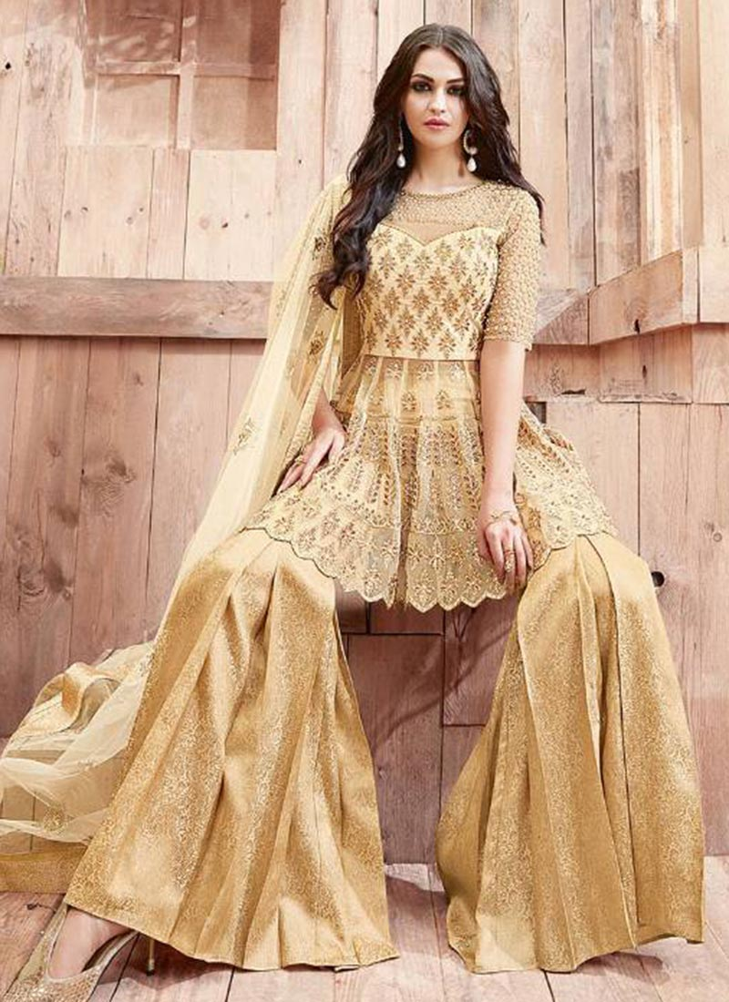 Buy beige net sharara suit stones embroidered sharara for Sharara dress for wedding online shopping