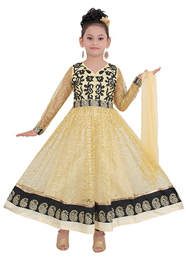 Beige Net Teens Anarkali Suit