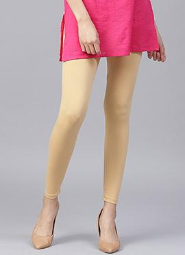 Beige Plain Leggings