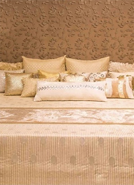 Beige Poly Silk N Velvet Bed Cover