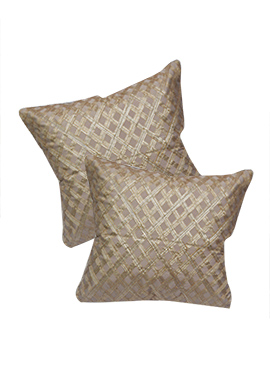 Beige Polyester Cushion Cover