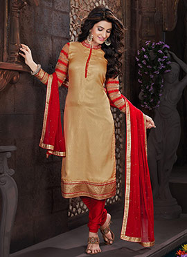 Beige Polyester Jacquard Straight Suit