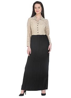 Beige Polyester Long Dress