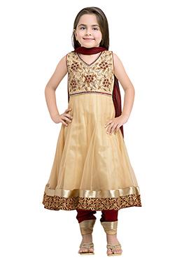 Beige Polyester Net Girls Anarkali Suit