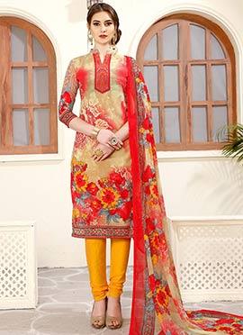 Beige Printed Churidar Suit