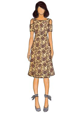 Beige Printed Cotton Cold Shoulder Kurti