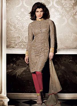 Beige Priyanka Chopra Straight Pant Suit