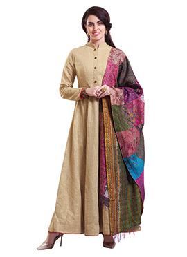 Beige Pure Cotton Anarkali Suit