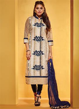 Beige Pure Cotton Handloom Churidar Suit