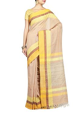 Beige Pure Cotton Handloom Saree