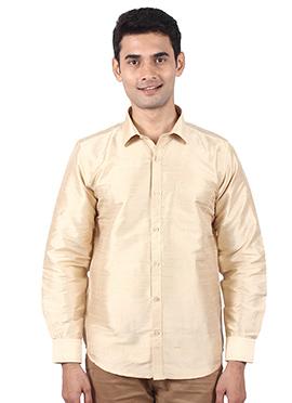 Beige Pure Dupion Silk Shirt