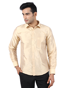 Beige Pure Raw Silk Shirt