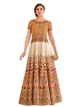 Beige Pure Silk  Anarkali Gown