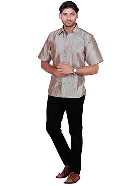 Beige Pure Silk Classic Shirt