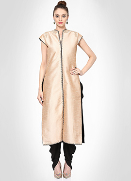 Beige Pure Silk Dhoti Style Suit