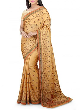 Beige Pure Silk Saree