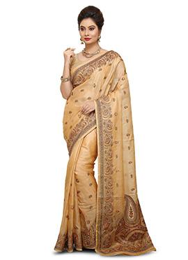 Beige Pure Benarasi Silk Saree