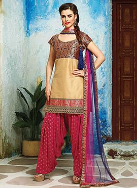 Beige Raw Silk N Brocade Patiala Suit