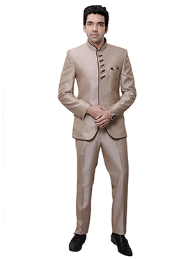 Beige Rayon Bandhgala Suit