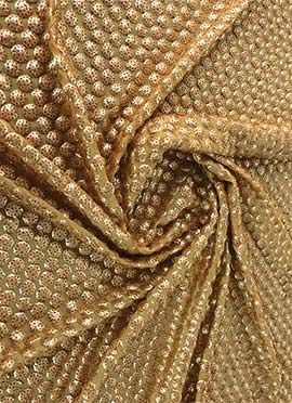 Beige Sequins Embroidered Georgette Fabric