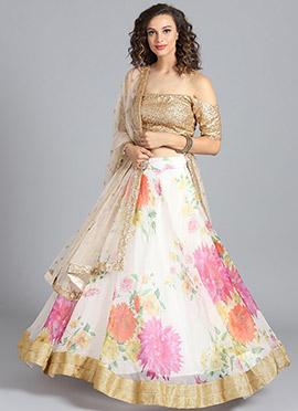 Beige Sequins Embroidered Umbrella Lehenga