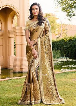 Beige shimmer Net Saree