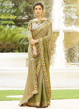 Beige Silk Border Saree