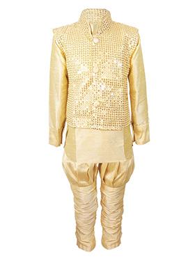 Beige Silk Cotton Kids Bandi Set