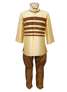 Beige Silk Cotton Kids Kurta Pyjama
