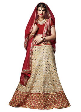 Beige Silk Embroidered A Line Lehenga Choli