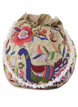 Beige Silk Foliage Designed Potli Bag