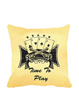 Beige Time to play Cushion Cover