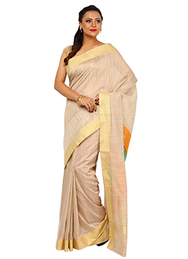 Beige Tussar Silk Border Saree