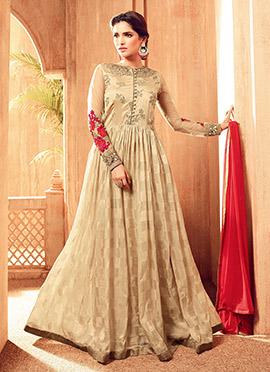 Beige Viscose Abaya Style Anarkali Suit