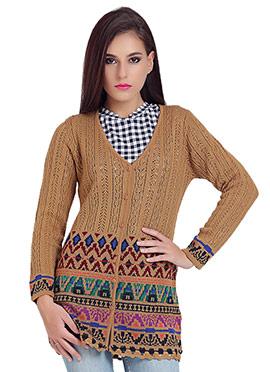 Beige Wool N Nylon Cardigan