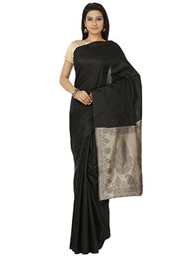 Benarasi Art Chanderi Silk Black Saree