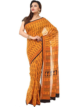 Benarasi Cotton Block Printed Saree