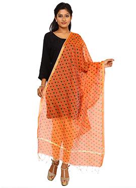 Benarasi Cotton Orange Printed Dupatta
