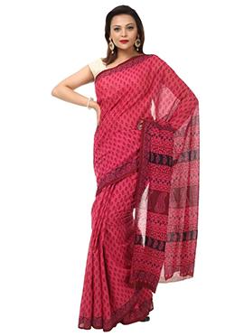Benarasi Cotton Red Block Printed Saree