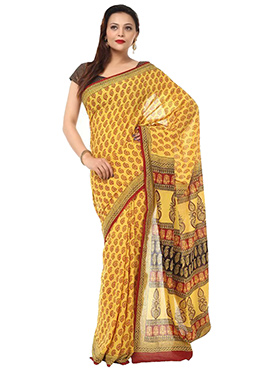 Benarasi Cotton Yellow Block Printed Saree