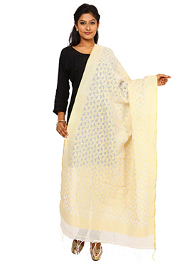 Benarasi Cream Cotton Jute Dupatta